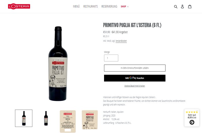 Automatisiertes Marketing: Ein Link im personalisierten Newsletter der L'Osteria führt auf spezielles Angebot im Online-Shop.