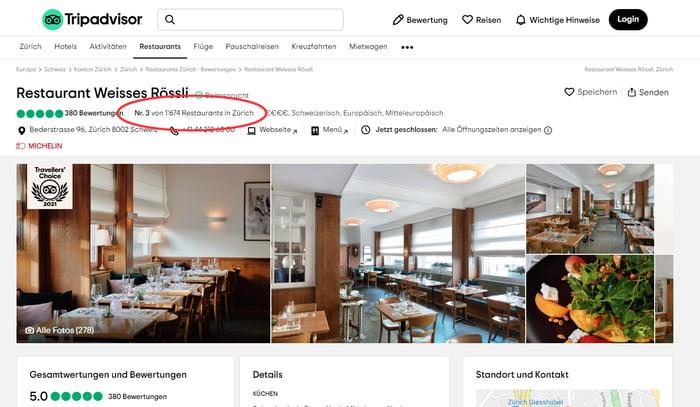 Bild: Das Restaurant Weisses Rössli in Zürich nutzt automatisiertes Marketing fürs Review Management und hält sich damit auf Platz 3 in der TripAdvisor-Liste.
