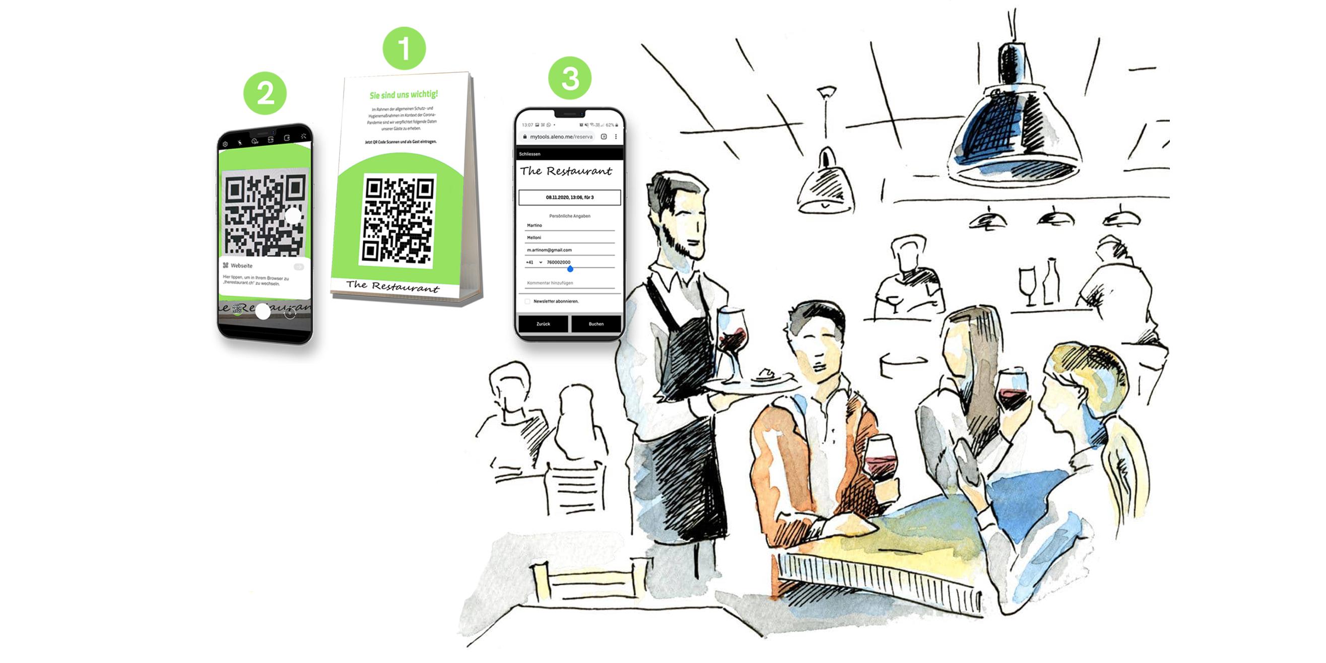 So können Gäste ihre Kontaktdaten in Restaurants bequem erfassen.
